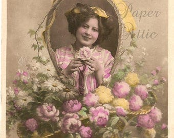 Antique French Postcard Tinted Photo Pretty Young Woman in Basket Handle Frame RPPC Post Card from Vintage Paper Attic