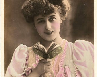 Pretty Edwardian Woman with Little Book Antique French Tinted Photo Postcard from Vintage Paper Attic