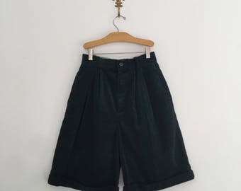 Vintage 80's Corduroy High Waisted Shorts Green or Navy S M 26