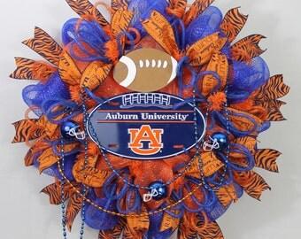 Auburn Wreath, Auburn Tigers, Auburn Fan Wreath, Auburn Football,  Orange Blue Wreath, UA Tiger Wreath, Auburn Sports Wreath, Auburn Decor