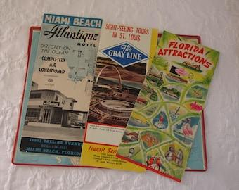 Vintage Souvenir Pamphlets/Retro Summer Vacation/Travel Paper Ephemera/Sight Seeing Tours St.Louis/Florida Attractions/Miami Motel/Graphics