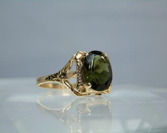 14k Yellow Gold Authentic 2.75 carat Green Moldavite Gemstone Ring Size 10 Artisan Ring DanPickedMinerals