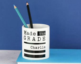 "Congratulate them with our personalised ""made the grade"" desk tidy/ pen pot - add any name! Graduation, exam success, university acceptance"