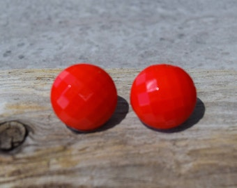 Vintage Red Glass Clip On Earrings