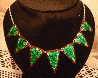 Necklace, enamel green, brown background