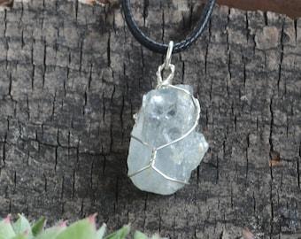 Celestite Necklace, Blue Celestite, Celestite Jewelry, Raw Celestite, Calming Stone, Pale Blue Stone, Rough Stone Necklace,