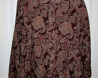 Vintage Ladies Brown Paisley Print Long Sleeve Silk Blouse Only 8 USD