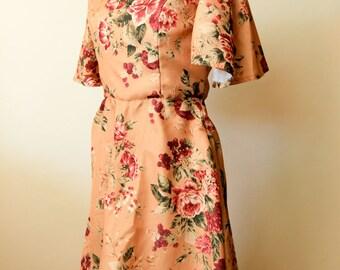 Mustard Floral Print Dress | Bohemian Shabby Chic Bridesmaid Dress | Boho Gypsy Hippie | Bohemian Wedding Dress | Floral Print Maxi Dress