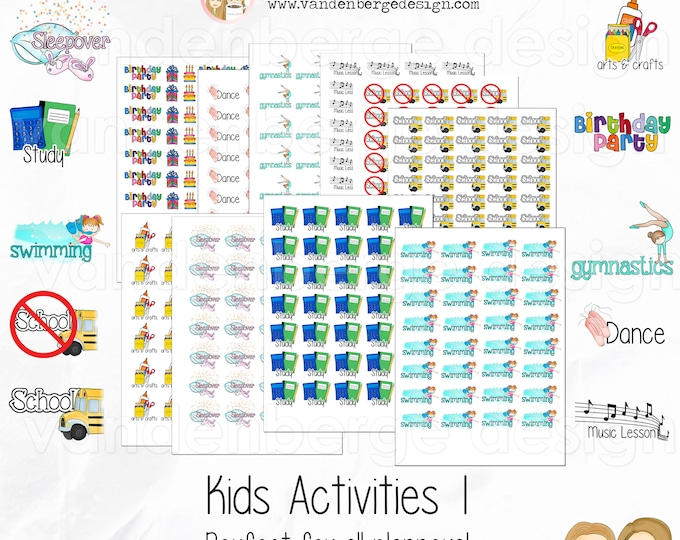 Kids Activities 1 -Planner, Calendar, Scrapbook Stickers-Perfect for all planners!
