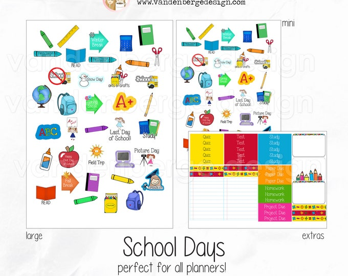 Mini School Days - Planner, Calendar, Scrapbook Stickers-Perfect for all planners!