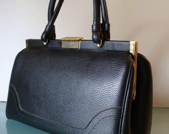 Vintage Kadin Black Doctor's Style Handbag