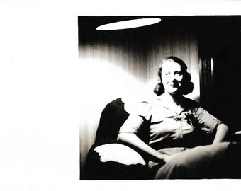 "Vintage Snapshot ""A Shining Light"" Smiling Woman In The Shadows Direct Lighting Abstract Artistic Found Vernacular Photo"