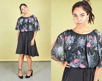70s Black Flower Spring Dress Vintage Floral Swing Dress