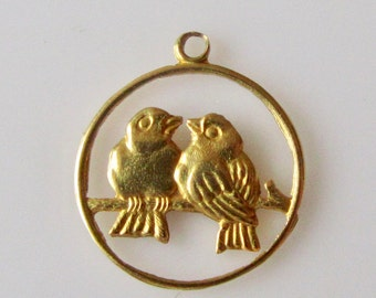 18ct Gold Love Birds Pendant or Charm
