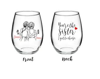 Best Friend Wine Glass - Long Distance Friendship Gift - Friendship Long Distance - You're the Sister I got to choose 21 oz Stemless Glass