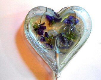 Gourmet Blueberry Ice Violas Edible Giant Lollipops Candied Fresh Flowers Wedding Favors