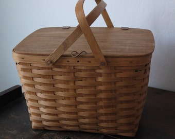 Vintage Basket / Vintage Picnic Basket / Vintage Longaberger Picnic Basket With Leather Straps / 1988 Large Longaberger basket CCH