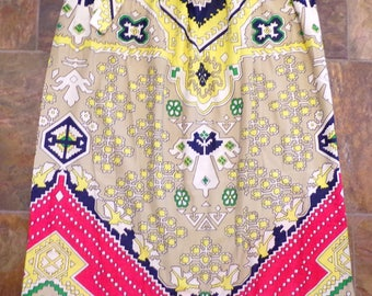 LONG 1970's VINTAGE SKIRT judy bond silky colorful graphic M L