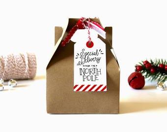 North Pole Christmas Gift Tags - (Set of 10) - Christmas Tags, Christmas Wrapping, Gift Wrap, Santa Gift Tags, North Pole Tags, Xmas Tags
