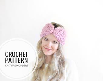 Crochet Pattern | Headband Bow Tie Turban Earwarmer Easy Crochet Pattern PDF / Women's Fall Fashion Headband Earwarmer, Hair Accessory