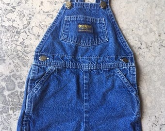 OSHKOSH Short Overalls, Toddler size 3T OshKosh jean overall Shorts, Vintage Toddler girl boy overalls, Snap Crotch trendy denim shorts