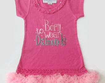 Toddler Girls Size 24 months Hot Pink Dress BORN to WEAR DIAMONDS
