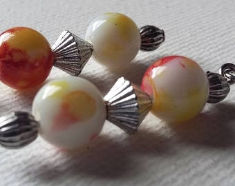 Red, Yellow and White beaded earrings