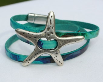 Silver Plated Starfish Turquoise Watercolor Leather Wrap Bracelet, Summer Jewelry, Starfish Jewelry, Beach Jewelry, Stacking Bracelet