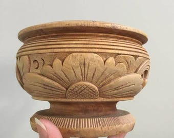Wood Carved Planter / Small Wooden Planter / Air Fern Planter /  Short Pedestal Planter  / Bohemian Decor