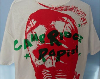 """Punk Tshirt- Gimp Mask - Seditionaries Sex- Cambridge Rapist- screen print SHIRT- Adult -Small 36"""""""