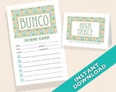 Pineapple Bunco Scorecard and Table Card Set - Designer Series - Pina Colada (a.k.a. Bunko, score card, score sheet)