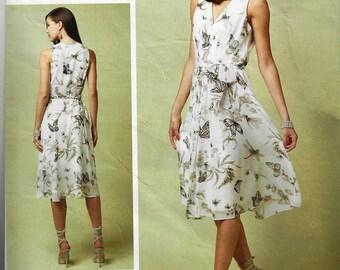 ANNE KLEIN Vogue American Designer Pattern v1543 Misses Dress Size 6-14 Dress Lined V-Neck Dress with Front Pleats and  Self Belt New