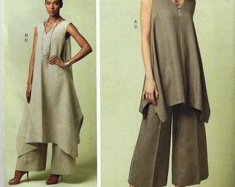 PACO PERALTA Barcelona for VOGUE Pattern #v1550~Misses' Sz 6-14~Pullover Tunic with Uneven Hem and WideLeg Pants New