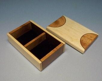 Small Wooden Box, Basketball Court Looking Top, Maple & Mahogany Keepsake Box, Sports Box, Handmade in the USA