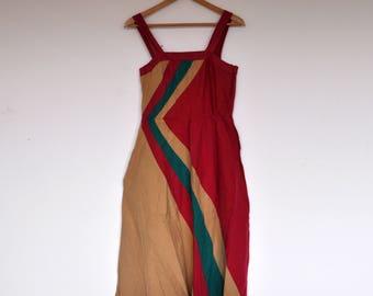 Vintage Chevron Striped Cotton Summer Sun Dress