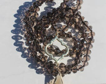 Boho Glam Hand Tied Crystal Necklace, Brown, Tear drop Crystal Pendant, Long Layering Necklace by Inarajewels, Jewelry gifts