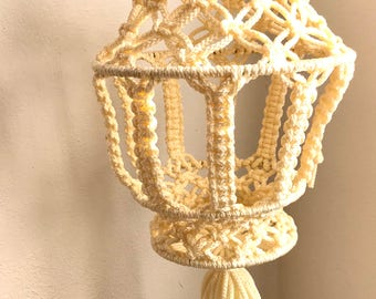 White Macrame Plant Holder- Jungalow Style- Plant House