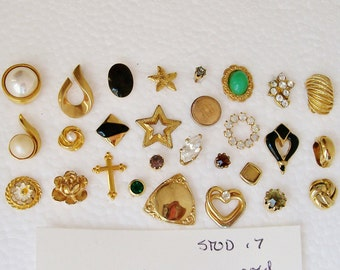 "28 Singles  STUD EARRING LOT Gold Tone Enamel Rhinestone Pearl 1/16""- 7/8""   Pierced Wearable Destash .7"