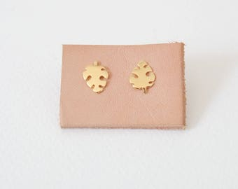 Monstera Earstuds in Gold / Silver, Plant Studs
