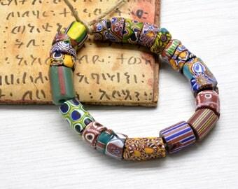 23 African Trade Bead , Venetian beads ,Millefiori Beads,glass Beads,African, Jewelry Supplies , bohemian beads, Trade Beads