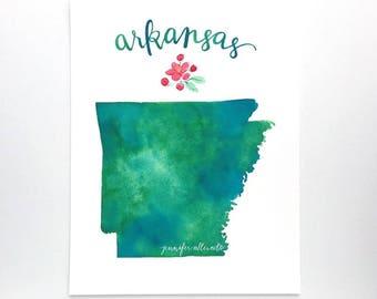 Arkansas watercolor state art print