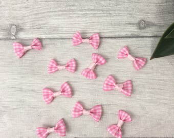 Pink mini bow, scrapbooking supply, hair bows, wedding favour, DIY wedding favor, embellishment supply, pigtail bows, piggy tail bows, etsy