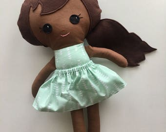"Ready To Ship Handmade Doll - 18"" Handmade Girl Doll - Girl Doll - Brown Skin Doll - Birthday Gift"