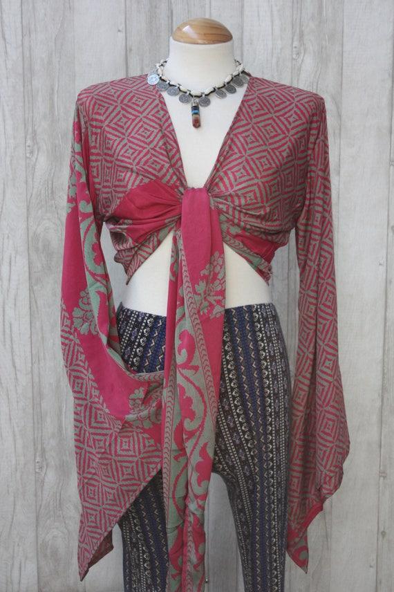 PINK POWER TOP - Bell sleeve crop top- Silk Tie Top- Vintage- Festival Top- Hippie- Retro- 70s- Crop Top- 100% Silk- Couture