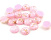 12mm Pink and gold cabochon - Glitter Cabochon - Domed Flat Back cabochons  - 12mm glitter cabochons (2019) - Flat rate shipping