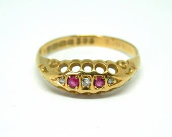18ct Gold Vintage Ruby & Diamond Ring, Art Deco 18K Engagement Ring, UK Size S, US Size 9 1/8