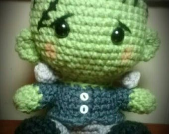 Frankenstein Inspired Fathead Amigurumi Plush Doll - Baby Big Head