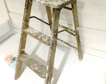 Vintage Rustic Farmhouse Ladder Shabby Chic Step Ladder White Paint Spattered