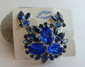 Gorgeous Vintage Blue Rhinestone Brooch & Clip On Earrings Set- NWT Demi Parure Bridal Silver Tone Hudson's Bay Artistic Creations