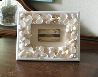 Seashell frame - 4 x 6 picture frame - sea glass frame - wedding frame - coastal decor - beach decor